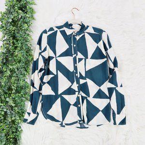 LOFT Geometric Long Sleeve Button Up Blouse Top XS